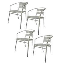 Cadeira Aluminio Jardim Kit 4 unidades Area Externa Banqueta Festa Reuniao Casa Moveis - Economia Solar