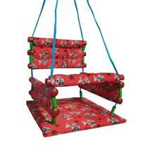 Cadeira balanço suspenso infantil de tecido e madeira -- - Helô Artes