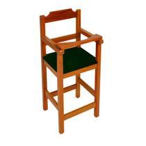 Cadeira Bebe De Madeira Com Trava Com Assento Estofado Preto - Natural - Ssmadeiras