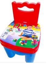 Cadeira com 28 Peças de Montar Criança Brincar em Casa Menino - 7200 - World Blocks