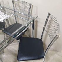 Cadeira Cromada Kit 4 Ass Preto 128 - CENTRO DO MOVEL