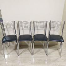 Cadeira cromada kit 4 unid. ass. preto - Centro Do Movel