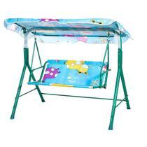 Cadeira de balanço infantil 2 lugares com cobertura verde crianças para jardim varanda banco toldo - Makeda