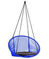 Cadeira de balanço suspensa cancun em fibra sintética azul bic - 180 - Bella Brasil Decor