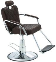Cadeira de Barbeiro Reclinável e Hidráulica, Marrom Tabaco - Texas Dompel -