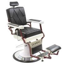 Cadeira De Barbeiro Reclinável Harley Profissional - Preto Branco - Dompel