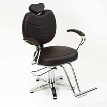 Cadeira de Cabeleireiro Topazio Encosto Fixo Pentapé  - Marrom Acetinado - Tudo Para Cabeleireiro