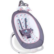Cadeira de Descanso Para Bebê Dobrável 4 Alturas Cinza Passarinho Rosa - Mastela -