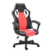 Cadeira de Escritório Diretor Giratória Gamer Scifi Preta, Vermelha e Branca - Mobly
