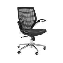 Cadeira de Escritório Hera Preta Assento Pto Base Cromada - Rivatti