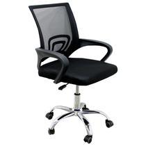 Cadeira de Escritório Mesh Assento Estofado Base Giratória Trato - Preta -