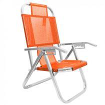 Cadeira de Praia Reclinavel 5 Posicoes em Aluminio Ipanema Alaranjada Botafogo -