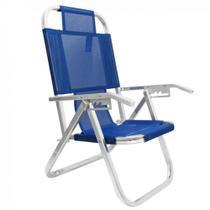 Cadeira de Praia Reclinavel 5 Posicoes em Aluminio Ipanema Azul Botafogo -
