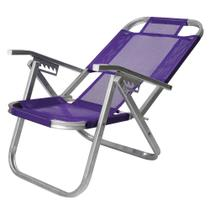 Cadeira De Praia Reclinável Alta - Ipanema - Roxa - Botafogo -