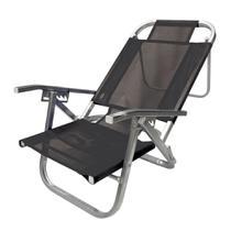 Cadeira de Praia Reclinável Copacabana Preta em Alumínio - Botafogo -