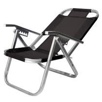 Cadeira de Praia Reclinável Ipanema Preta em Alumínio - Botafogo -