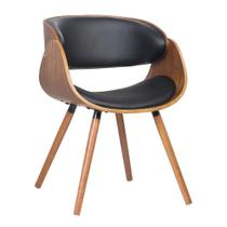 Cadeira Deise Preta Base em Madeira - Rivatti Móveis -
