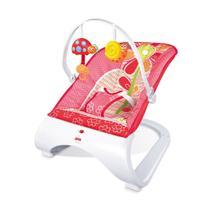 Cadeira descanso bebe com vibração brinquedinho musical acolchoada com base curva rosa - Import Way