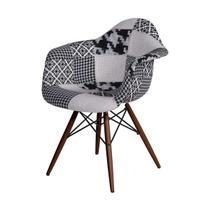 Cadeira Eames Com Braço Base Escura Estampada 82x62x44cm - Or Design