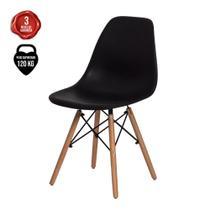 Cadeira Eiffel Eames DSW Preta Base Madeira - Cadeiras Inc