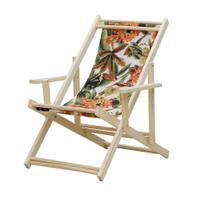 Cadeira Espreguiçadeira Adulto Dobrável Madeira Maciça Natural Com Tecido - Móveis Brasil