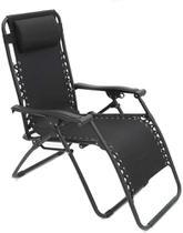 Cadeira Espreguiçadeira Pelegrin Pel-002Z Gravidade Zero Em Tecido E Metal Preta -