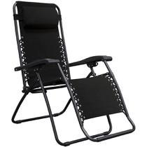Cadeira Espreguiçadeira Pelegrin PEL-003Z Gravidade Zero em Tecido e Metal Preta -
