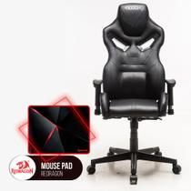 Cadeira Gamer MoobX Fire Preto + Mousepad Redragon Capricorn PO12 - Bela
