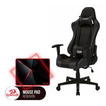 Cadeira Gamer MoobX GT RACER Preto + Mousepad Redragon Capricorn Vermelho - Bela