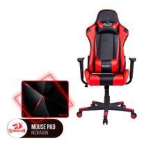 Cadeira Gamer MoobX GT RACER Preto / Vermelho + Mousepad Redragon Capricorn Vermelho - Bela