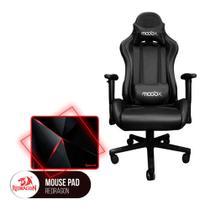 Cadeira Gamer MoobX THUNDER Preta + MousePad Redragon Capricorn Vermelho - Bela