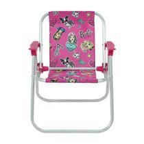 Cadeira infantil praia piscina camping alumínio barbie rosa - Belfix