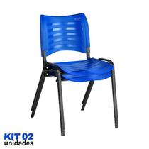 Cadeira ISO Plástica (Kit 02) Para Igrejas, Sorveterias, Restaurante - AZUL - KASMOBILE -