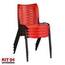 Cadeira ISO Plástica (Kit 04) Para Igrejas, Sorveterias, Restaurante - VERMELHA - KASMOBILE -