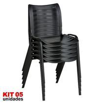 Cadeira ISO Plástica (Kit 05) Para Igrejas, Sorveterias, Restaurante - PRETA - KASMOBILE -