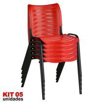 Cadeira ISO Plástica (Kit 05) Para Igrejas, Sorveterias, Restaurante - VERMELHA - KASMOBILE -