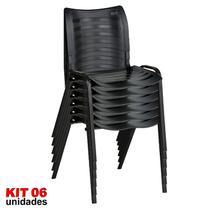 Cadeira ISO Plástica (Kit 06) Para Igrejas, Sorveterias, Restaurante - PRETA - KASMOBILE -
