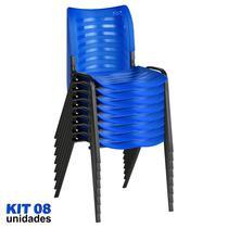 Cadeira ISO Plástica (Kit 08) Para Igrejas, Sorveterias, Restaurante - AZUL - KASMOBILE -