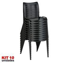 Cadeira ISO Plástica (Kit 10) Para Igrejas, Sorveterias, Restaurante - PRETA - KASMOBILE -