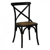 Cadeira Katrina Preta Madeira e Rattan Natural Rustica Rivatti -