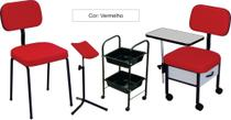 Cadeira Manicure + Cadeira Cliente + Carr Auxiliar + Suporte pedicure Kit 4 peças ST - Marfim