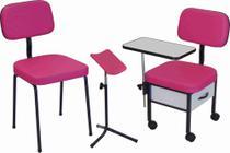 Cadeira Manicure + Cadeira Cliente + Suporte pedicuro Kit Trio ST - Marfim