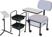 Cadeira Manicure + Carrinho Auxiliar + Suporte pedicuro Kit 3 peças ST - Marfim