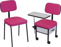 Cadeira para Manicure + Cadeira Cliente  Kit Duos ST - Marfim