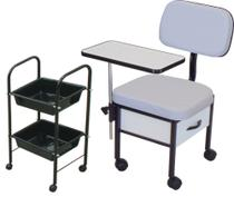 Cadeira para Manicure + Carrinho Auxiliar Kit ST 02 - Marfim