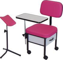 Cadeira para Manicure + Suporte tripé Pedicuro Kit ST 01 - Marfim