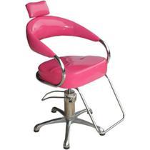 Cadeira Poltrona Hidráulica Futurama Rosa Glitter Base Alumínio Escovado - Outras