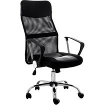 Cadeira Presidente  Giratória Regulagem De Altura A Gás Tela Mesh Preta W-58B - Atacadeiras