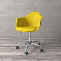 Cadeira Secretária com Braço Eames de Polipropileno Amarela - Etna