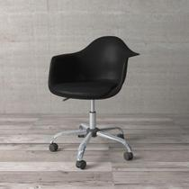 Cadeira Secretária com Braço Eames de Polipropileno Preta - Etna